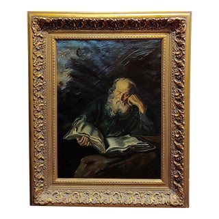 Portrait of a Patriarch Reading a Manuscript- 19th Century Oil Painting For Sale