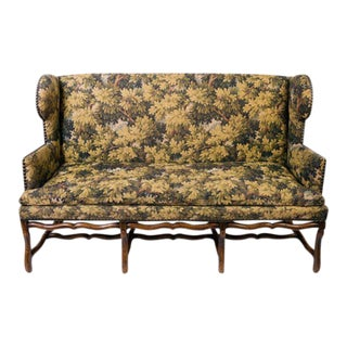 Louis XIII French Wingback Arm Sofa With Nailhead Trim and Single Seat Cushion 19th Century For Sale