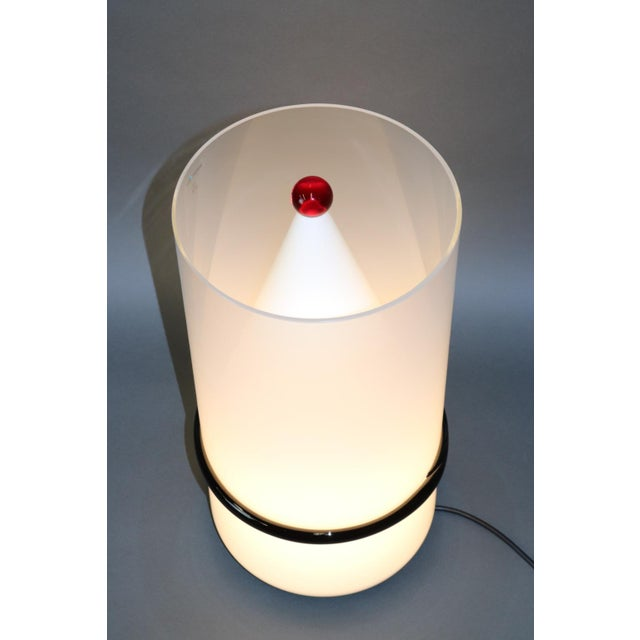 Murano Mid-Century Modern Murano Glass Table Lamp with Red Accent For Sale - Image 4 of 12
