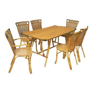 French Bamboo Table and Chairs Set (Louis Sognot) For Sale