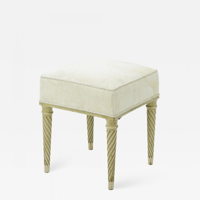 Maison Carlhian Pair of Stools Newly Covered in Linen Cloth For Sale - Image 6 of 6
