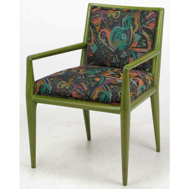 Turquoise Four T.H. Robsjohn-Gibbings Moss Green Walnut Arm Chairs For Sale - Image 8 of 10