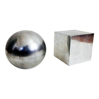 Vintage Silver Cubist Bookends - A Pair