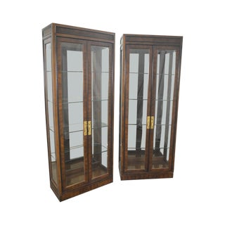 Drexel Heritage Vintage Pair of Tall Curio Display Cabinets