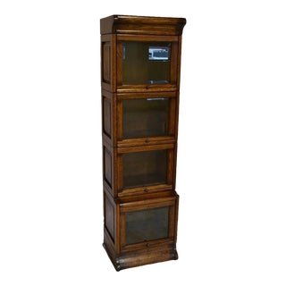 Crafters and Weavers Mission Narrow Barrister Bookcase - Beveled Glass For Sale