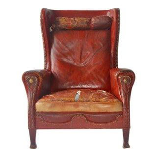 Leather Lounge Chair by Otto Schulz For Sale
