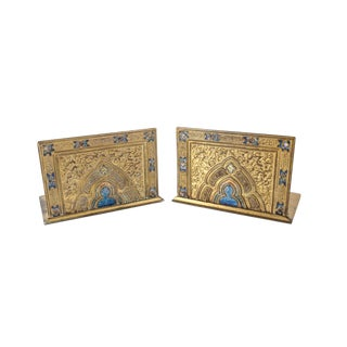 Louis C. Tiffany Favrile Furnaces Gilt Bronze Gothic Style Bookends - A Pair