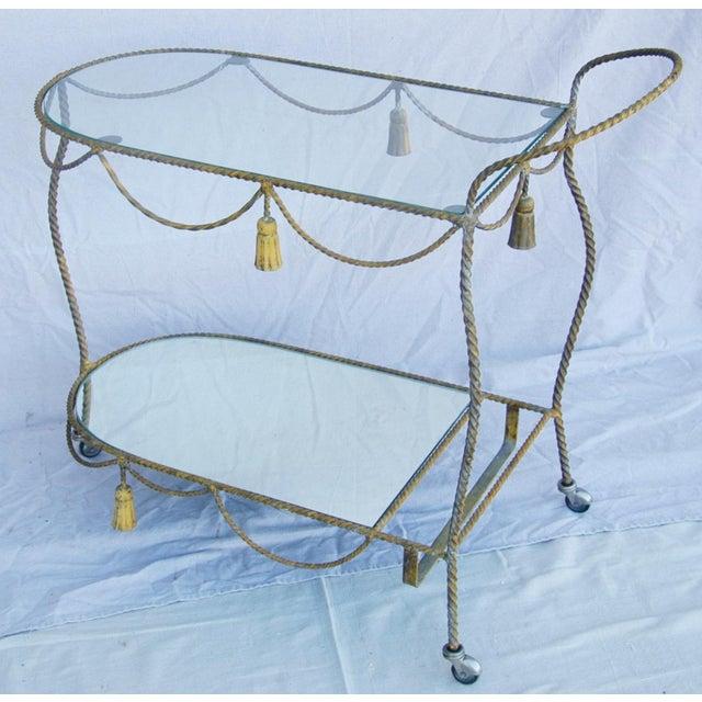 Glass 1950s Vintage Italian Bar & Beverage Liquor Tea Party Cart For Sale - Image 7 of 12