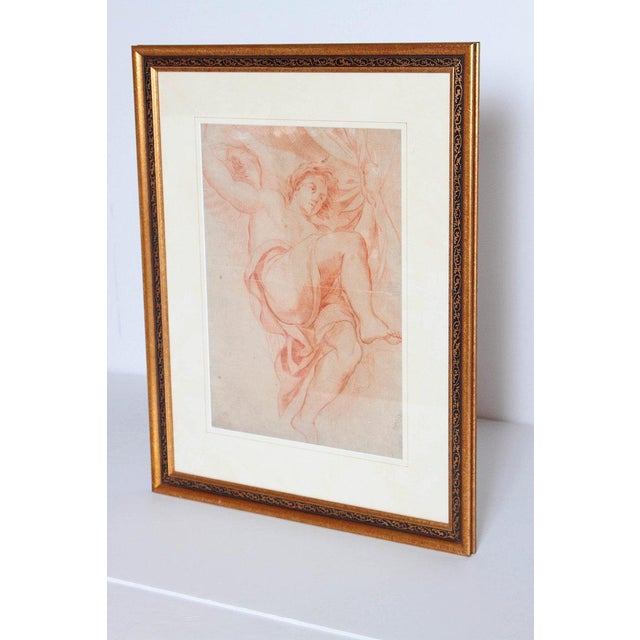 Chalk 18th Century Continental Red Chalk Drawing, Figure Study For Sale - Image 7 of 11