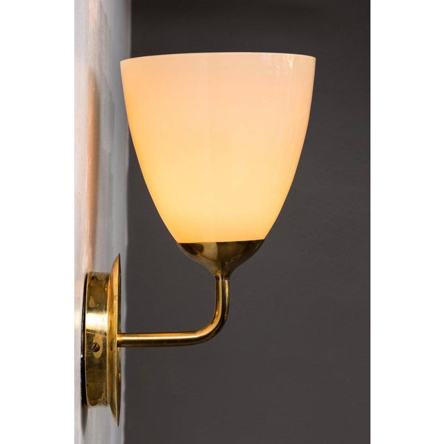 Brass 1950s Scandinavian Modern Paavo Tynell for Taito Oy Glass and Brass Sconces - a Pair For Sale - Image 7 of 13