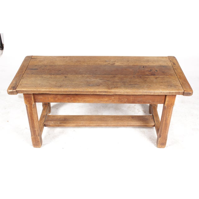 Antique Monestary-Style Oak Coffee Table - Image 4 of 9