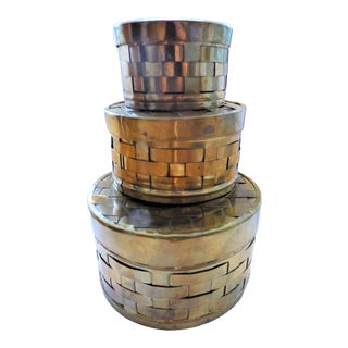 1980s Brass Woven Nesting Boxes - Set of 3 For Sale