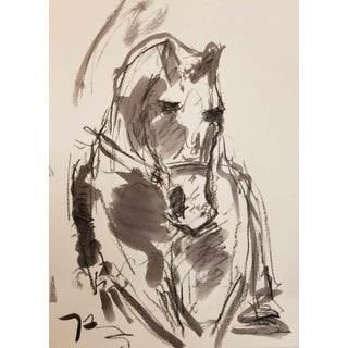 Jose Trujillo Expressionist Inspired Horse Ink Wash Drawing For Sale
