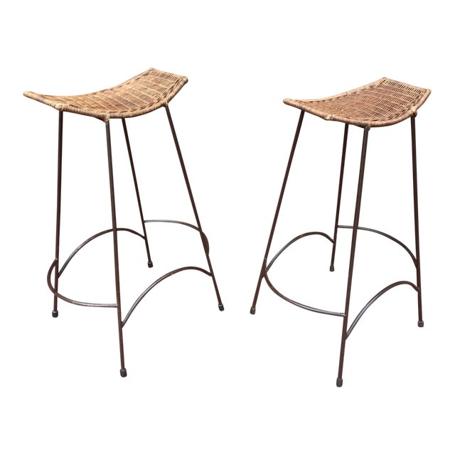 1970s Mid-Century Modern Arthur Umanoff Iron and Rattan Barstools - a Pair For Sale