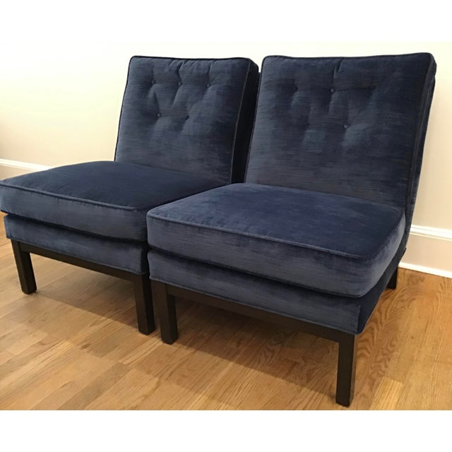 1960's Mid-Century Navy Velvet Slipper Lounge Chairs- A Pair For Sale - Image 13 of 13