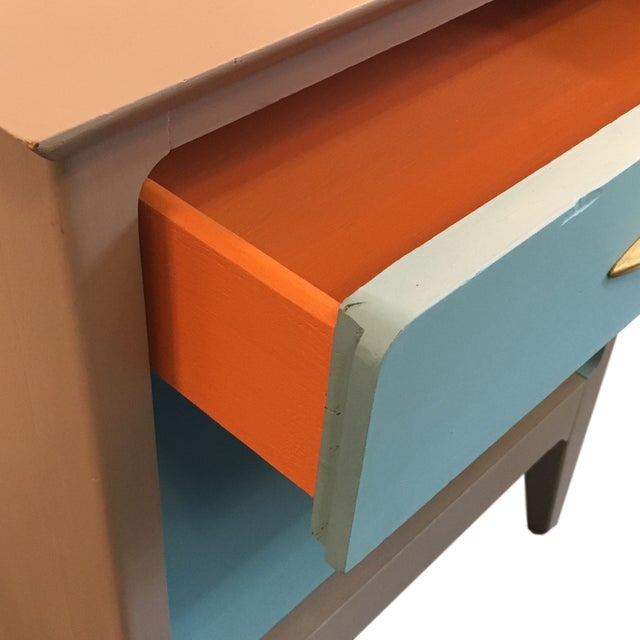 Mid Century Modern Color Blocked Side Table - Image 3 of 4