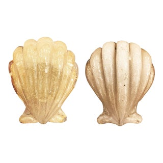 Murano Shell Door Handles by Barovier and Toso - a Pair For Sale