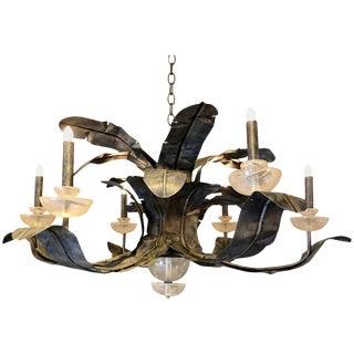 Blackened Brass Palm Leaf Six-Light Chandelier For Sale