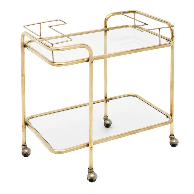Mid-Century Brass and Glass Bar Cart For Sale - Image 10 of 10