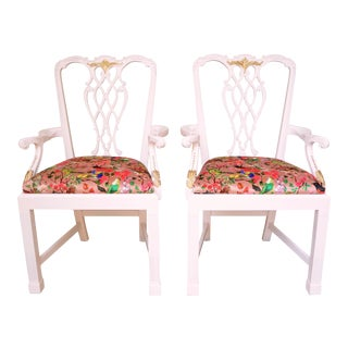 Chinoiserie Velvet Pink Chippendale Chairs - a Pair
