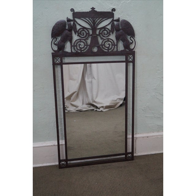 Medieval Gothic Custom Iron Frame Wall Mirror - Image 6 of 10
