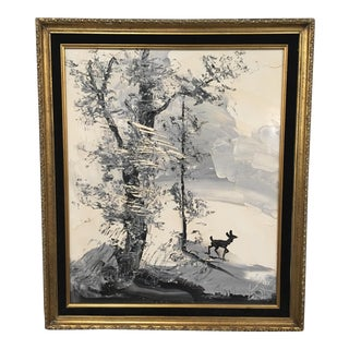 Catskills Deer in Winter Landscape by Morris Katz For Sale