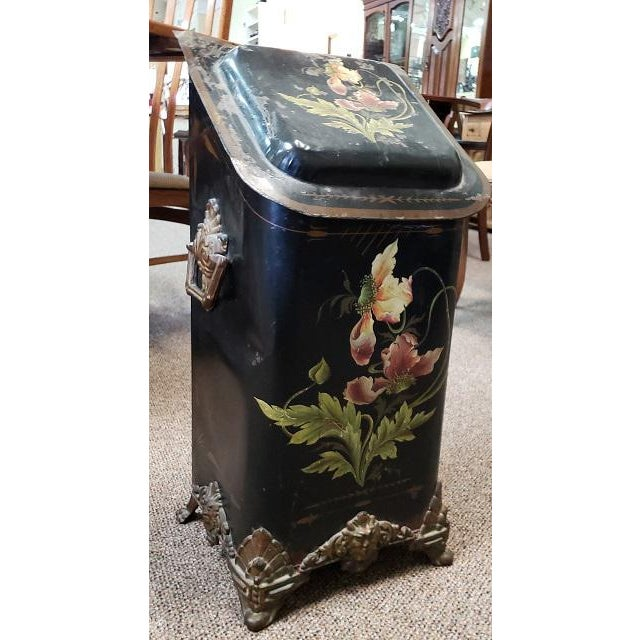 American Victorian Hand Painted Firewood Bin W/ Insert C.1890s For Sale - Image 4 of 13
