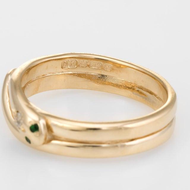 Metal Vintage Snake Ring 9 Karat Yellow Gold Diamond Emerald Alternative Wedding Band For Sale - Image 7 of 8