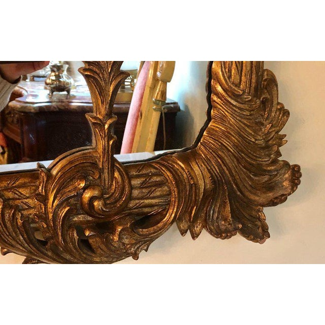 La Barge Italian Style Foliate Giltwood Wall, Console or Over the Mantle Mirror For Sale - Image 10 of 13