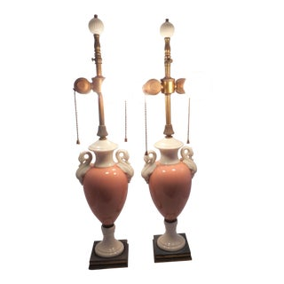 Lenox Table Lamps - Pair - Urn Pattern With Swans Handles - Porcelain - Pink / Coral and White For Sale