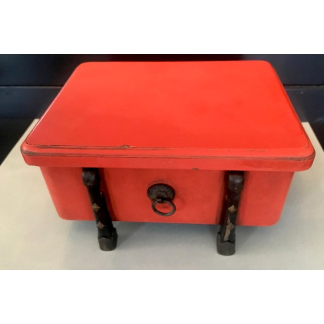 Brilliant orange Japanese lacquer box with wood and brass detailing, a lovely box ready for the most precious of finery or...
