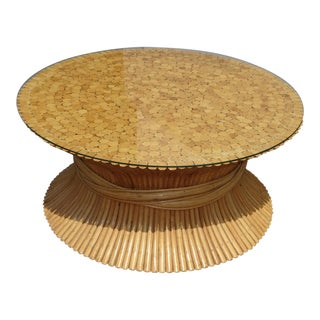 Vintage Mid Century Modern McGuire Style Wheat Sheaf Cocktail Coffee Table For Sale