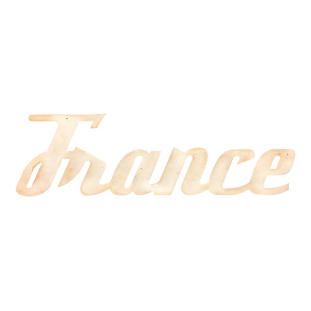 """Mid-Century Modern """"France"""" Signage From Travel Agency For Sale"""