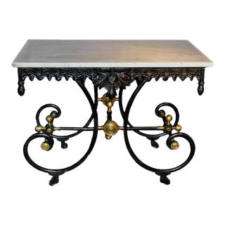 Antique French 19th Century Wrought-Iron Baker's Table With Marble Top and Brass Finials For Sale
