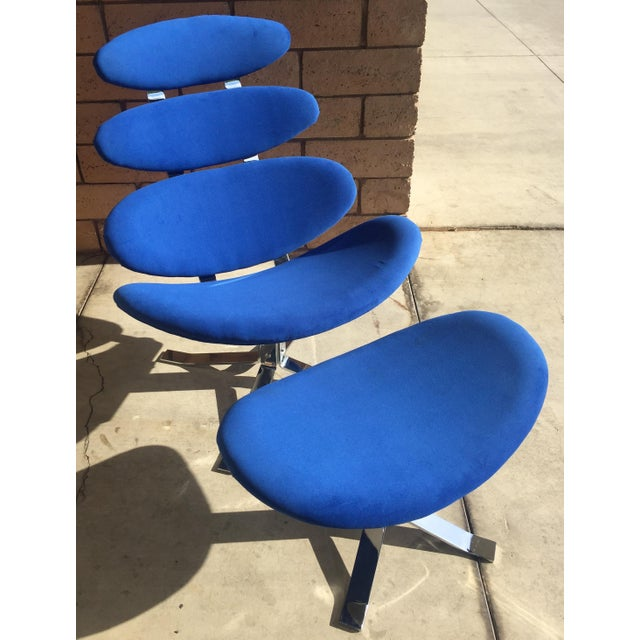 Metal Mid Century Modern Blue Pedal Corona Style Chair & Ottoman For Sale - Image 7 of 7