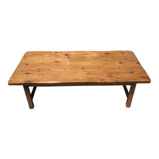 Farm Style Hand Hewed Coffee Table For Sale