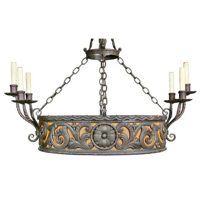 1900 - 1909 Arts & Crafts Wrought Iron Chandelier For Sale - Image 5 of 12