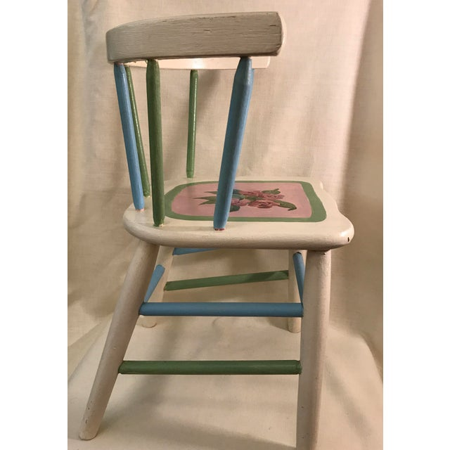 Painted Child's Spindle Chair For Sale - Image 4 of 9
