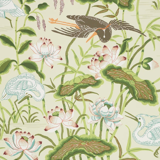 Contemporary Schumacher Lotus Garden Wallpaper in Parchment For Sale - Image 3 of 3