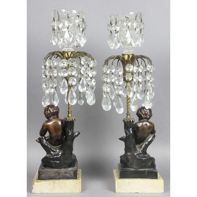 Bronze Regency Cast Metal, Bronze And Cut Glass Candlesticks For Sale - Image 7 of 9