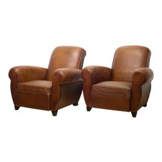 French Rollback Sheep Hide Club Chairs C.1940 For Sale
