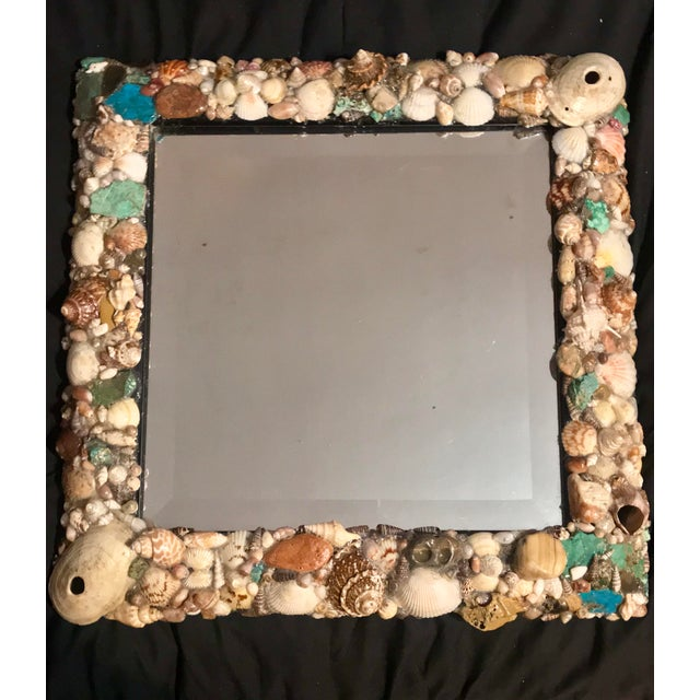 Turquoise and Seashell Embellished Mirror For Sale - Image 9 of 9