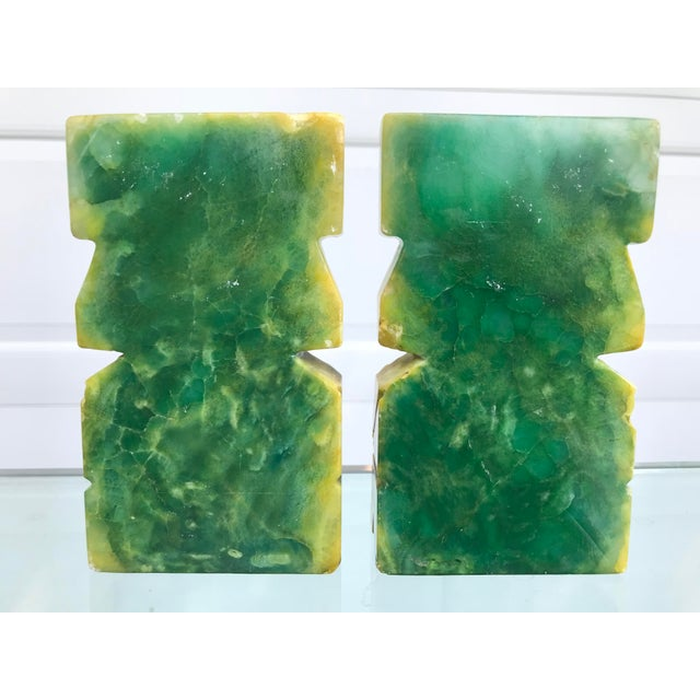1970s Green and Yellow Carved Onyx Bookends - a Pair For Sale - Image 5 of 8