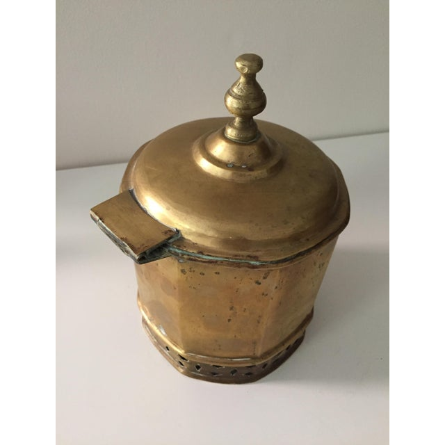 Brass Primitive Moorish Brass Octagonal Kettle / Container For Sale - Image 7 of 9