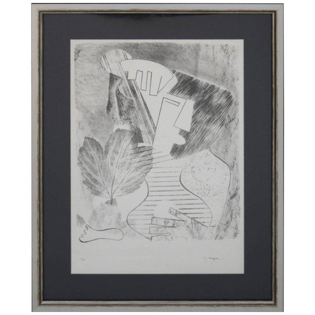Abstract Portrait Lithograph by David Segel For Sale
