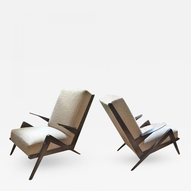 "1950s Grasshopper"" Italian Oak 1950s Armchairs, Newly Recovered in Maharam Boucle For Sale - Image 5 of 5"