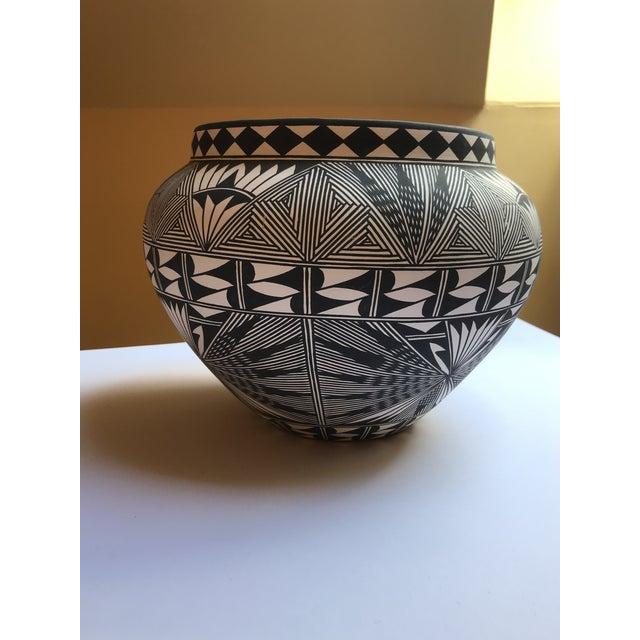 Ceramic Acoma Pueblo Pottery Polychrome Bowl Signed Chino For Sale - Image 7 of 13