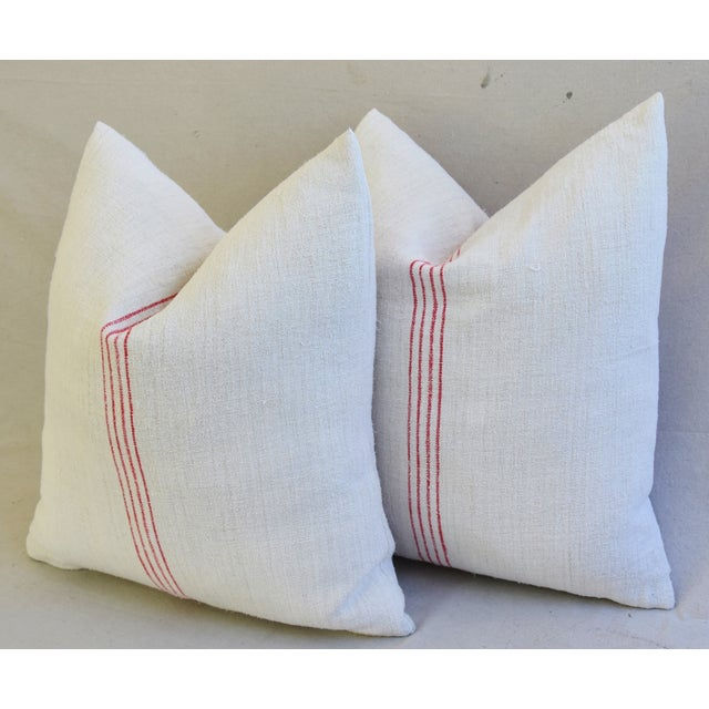 French Country Red Striped Gain Sack Pillows - Pair For Sale - Image 10 of 11