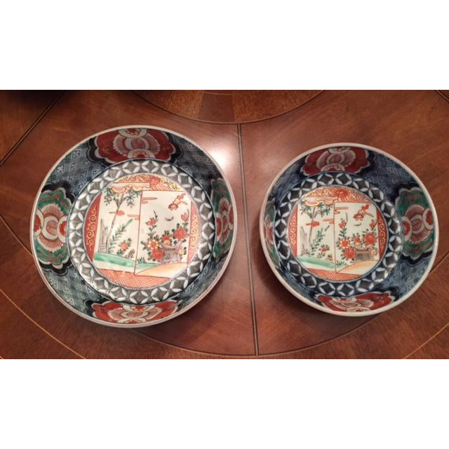 Ceramic Antique 1835 Japanese Imari Porcelain Colored Bowls - a Pair For Sale - Image 7 of 13