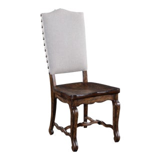 Glendale Carved Wood Saddle Side Chair Dining For Sale